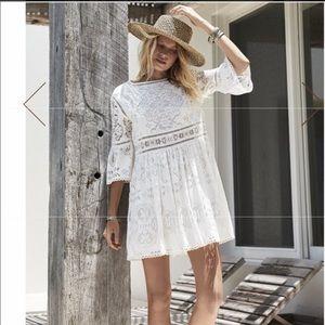 Spell Designs Clover Lace Mini Dress in White